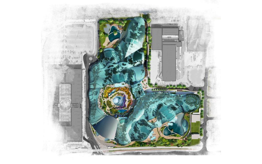 Birds eye view of plans for the new uk wellbeing resort